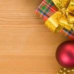 Christmas gift box with balls — Stock Photo