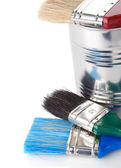 Paintbrush and can isolated on whit — Stock Photo