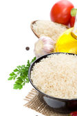 Rice and vegetable with food spice — Stock Photo
