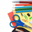 Stock Photo: Back to school and supplies isolated on white