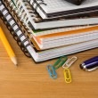 Notebook and school accessories — Stok fotoğraf