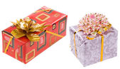Gift christmas box with gold ribbon — Stock Photo