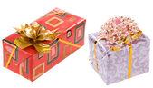 Hediyelik noel kutu altın şerit — Stok fotoğraf