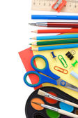 Back to school and supplies isolated on white — Stock Photo