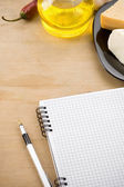 Recipe notebook cookbook with food ingredient — Stock Photo