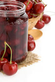 Cherry jam isolated on white — Stock Photo