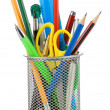 Holder basket and office supplies isolated on white — Stockfoto