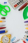 útiles escolares en papel facturado — Foto de Stock