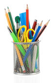 Holder basket and office supplies isolated on white — Stock Photo