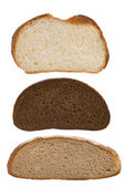 Slices of bread isolated on white — Stock Photo