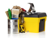 Set of tools in toolbox at white — Stock Photo