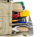 Kit of tools and bag on white — Stock Photo