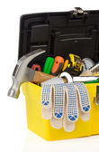 Kit of tools and box on white — Stock Photo