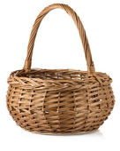 Wicker basket isolated on white — Stock Photo
