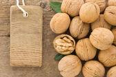 Walnut and tag price — Stock Photo