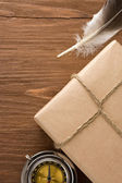 Parcel wrapped with brown paper — Stock Photo
