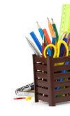 Sostenedor de la cesta y útiles de oficina — Foto de Stock