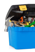 Set of tools and instruments in toolbox — Stock Photo