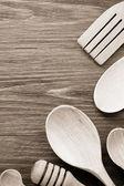 Wood utensils on table — Stock Photo