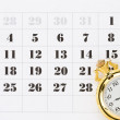 Pocket watch on calendar - Zdjcie stockowe