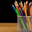 Holder basket and school supplies  — Stockfoto