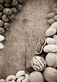 Variedad de frutos secos en la madera — Foto de Stock