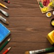 Stock Photo: Art concept and paint brush on wood