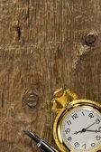 インク ペンと木の上の時計 — ストック写真
