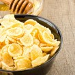 Bowl of corn flakes and nutrition — Stock Photo #21451649
