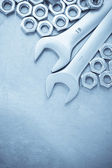 Wrench and nut — Stock Photo