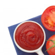 Fresh tomato and ketchup  — Stock Photo