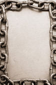 Chain frame on metal texture — Stock Photo