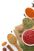 Food ingredients and spices isolated on white background — Stock Photo