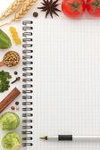 Papel e ingredientes alimentares — Foto Stock