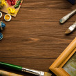 Stock Photo: Brush and painting on wood