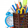 Holder basket and office supplies - Stock Photo