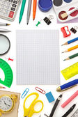 Notebook and school supplies — Stock Photo