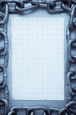 Chain on metal texture — Stock Photo