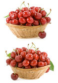 Sweet cherry in bowl isolated on white — Stock Photo