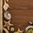 Sea concept on wood — Stock Photo