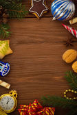 Christmas concept on wood — Stock Photo