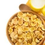 Bowl of corn flakes on white — Stock Photo #36497319