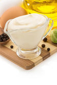 Mayonnaise sauce in bowl on white — Stock Photo