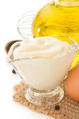 Mayonnaise sauce on white background — Stock Photo