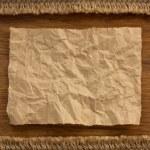 Ropes and sack burlap on wood — Stock Photo