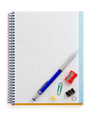 Notebook and office accessories — Stock Photo