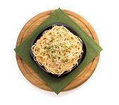 Pasta spaghetti on white background — Stok fotoğraf