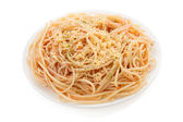 Pasta spaghetti macaroni on white — Stock Photo