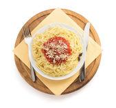 Pasta spaghetti on white background — Stock Photo