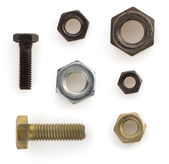 Nuts,bolts and screw  on white  — Foto de Stock